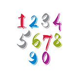 Contemporary handwritten vector digits, vector numerals.