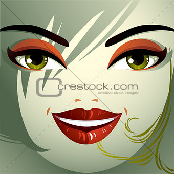 Cosmetology theme image. Young pretty lady with fashionable hair