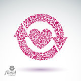 Loving heart floral illustration with update arrows, beautiful r