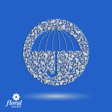 Beautiful flower-patterned umbrella. Stylized accessory – crea