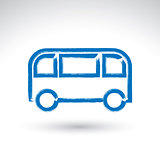 Hand drawn bus icon, illustrated brush drawing passenger bus sig