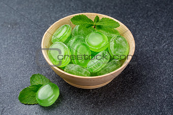 Green mint candy