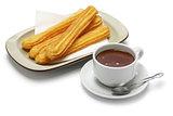 churros and hot chocolate, spanish breakfast