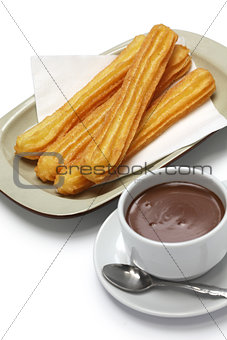 churros and hot chocolate, spanish breakfast
