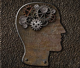 Metal brain gears and cogs. Mental illness, psychology, invention and idea concept.