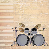 abstract grunge piano background with black drum kit