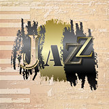 abstract grunge piano background with word Jazz