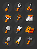 Working tools for construction and repair flat icons set