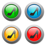 Lady shoe icon on buttons set