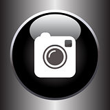 Camera simple icon on black button