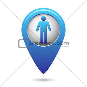 Blue map pointer with standing human icon