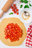 Cherry tomato tart. Cooking process.