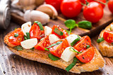 Bruschetta with cherry tomato and mozzarella