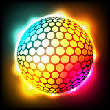 Glowing Colorful Golf Ball Dimpled Sphere Illustration