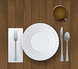 Dinner Placesetting on Wooden Background Illustration