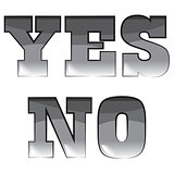 "Vector black and white illustration. words ""yes"" and ""no"""