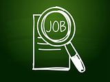 job and search sign over green blackboard