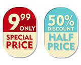 9,99 only, 50 percent discount, special and half price, two elli