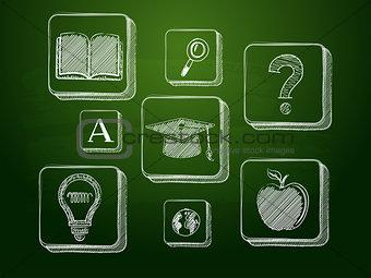 chalk education signs over green blackboard