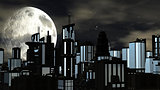 Night Futuristic City with Big Moon