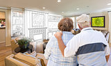 Senior Couple Over Custom Living Room Design Drawing and Photo