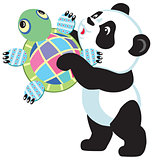 panda holding turtle toy
