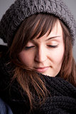 closed eyes girl with hat and scarf