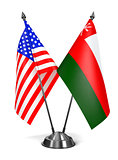 USA and Oman - Miniature Flags.