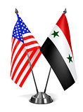 USA and Syria - Miniature Flags.