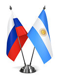 Russia and Argentina - Miniature Flags.