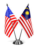 USA and Malaysia - Miniature Flags.
