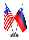 USA and Slovenia - Miniature Flags.
