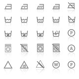 Laundry line icons with reflect on white background