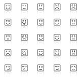 Square face line icons with reflect on white background