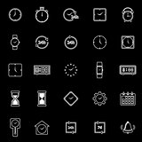 Time line icons on black background