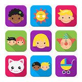 Childhood squared app icon set