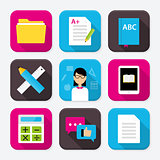 Education themed squared app icon set