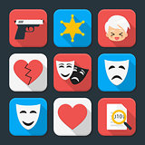 Film genre squared app icon set
