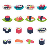 Sushi icon set over white