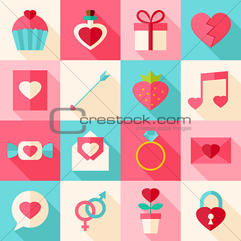 Valentine day flat icon set with long shadow