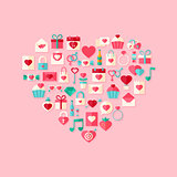 Heart shaped valentine day flat style icons with shadow