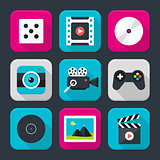 Multimedia, audio and video themed squared app icon set