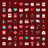 Valentine day flat style icons