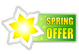 spring offer green label with flowers