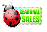 seasonal sales green spring label with ladybird
