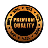 premium quality 100 percentages in golden black circle label
