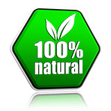 100 percentages natural with leaf sign in green button