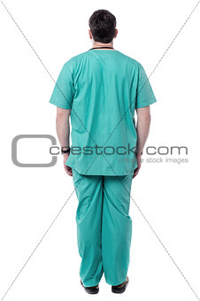 Back pose of male doctor