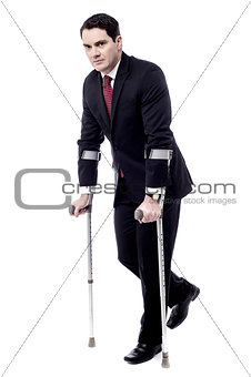Crutches really help me to walk.