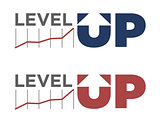 Vector illustration of level up text
